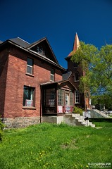 Knox Church Manse (djhsilver) Tags: urban detail brick tower church architecture bay fort masonry william historic steeple copper knox neogothic thunder neighbourhood fortwilliam thunderbay pruden manse