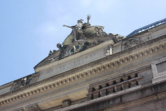 Clock Up Above (lefeber) Tags: city nyc newyorkcity urban newyork building clock architecture facade downtown exterior angles statues trainstation sculptures angled grandcentralterminal