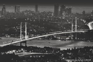 Night Bosphorus Bridge Istanbul