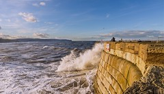 Foaming Sea (jack cousin) Tags: sea sky seascape clouds coast pier nikon waves stonework yorkshire shore whitby splash headland roughsea d610 crashingwave foamingsea on1photos