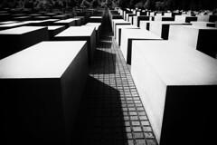 Holocaust Memorial, Berlin (loveexploring) Tags: bw berlin monochrome germany memorial genocide holocaustmemorial memorialtothemurderedjewsofeurope
