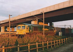 """Freightliner Class 66/5, 66579 (37190 """"Dalzell"""") Tags: yard gm shed crewe fred greenyellow generalmotors freightliner class66 66579 66739 basfordhall class665"""