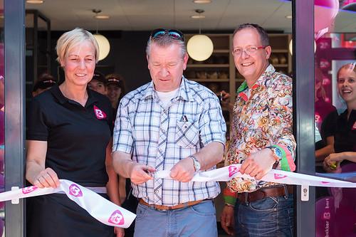 70mm Wit Lint met Fuchsia Bedrukt Opening Bakker Bart