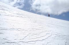 Windblown (VernsPics) Tags: new trip blue white mountain snow person veil wind head horizon small over nuns climbing zealand mountaineering glimpse windblown mountaineer blown 2015