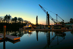 Working Harbor  02.02.16 (rowland-w) Tags: ocean sunset reflection water coast harbor boat twilight dock crane maine shore kennebunkport smorgasbord