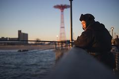 Evening (dtanist) Tags: new york city nyc newyorkcity sunset sea newyork tower beach brooklyn zeiss island evening pier jump fishing fisherman sand sony pole contax shore carl boardwalk rod coney a7 45mm parachute planar steeplechase carlzeiss
