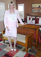 In the Pink (krislagreen) Tags: pink white tv pumps highheels cd skirt tgirl transgender suit jacket transvestite crossdress tg patent feminization feminized