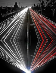 Drive Safe... (ATOM1_Productions) Tags: longexposure red cliff white lightpainting black monochrome night photoshop lights drive surrealism acid fake illusion freeway lighttrails safe unreal trippy edit dmt