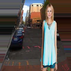 Stretch Photography (swong95765) Tags: street city woman beauty female blonde stretched deformed elongated