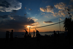 Beach Volleyball (daniel.gram78) Tags: old travel sunset sky people sun holiday playing beach ball fun thailand play hard young volleyball jomtien