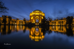 Stunning glow @ dusk - Palace of fine arts (Anishkumar Sugumaran) Tags: sanfrancisco california nightphotography blue light reflection history monument colors glitter architecture night golden long exposure downtown glow dusk ngc fine arts palace stunning evenings