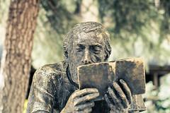 DSC_160423_the-reader-man (Behnam.z) Tags: man tree green statue bronze book reader symbol outdoor