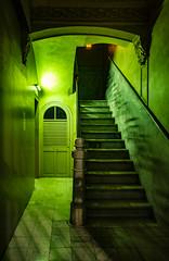 Stairway (dandi723) Tags: barcelona door green night stairs canon dark eos lights spain stairway catalunya 1022mm d550 eos550d