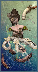Keeper of the Deep (Jewel Appletor aka Karalyn Hubbard) Tags: ocean flowers fish cold art wet water monster artwork artist deep bubbles queen master fantasy unknown mermaid anc damp whimsical lurking keeper gaurdian kungler meadowwork