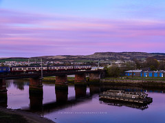 Across the bridge (w.mekwi photography) Tags: houses train landscape scotrail hills dumbarton crags gloaming sunsest nikond800 wmekwiphotography