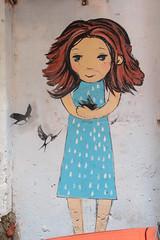 The Bird Gatherer (Roblawol) Tags: blue woman white black girl birds hair graffiti mural europe lviv ukraine lvov unexpected graffitiart
