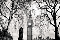 Big Ben Clock Tower and Earl of Beaconsfield Statue, London, UK (ralfmartini805) Tags: street uk bw london monochrome blackwhite bigben clocktower