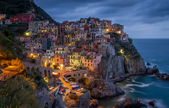 Manarola, Cinque Terre (Elin Jakobsen) Tags: longexposure nightphotography blue sunset italy seascape mountains night dark evening coast town seaside spring twilight riviera italia village nightshot dusk liguria terre cinqueterre bluehour oldtown manarola cinque