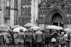 Tourists in the Edinburgh Rain (Philip Gillespie) Tags: street uk party people bw white abstract black wet water monochrome lines rain weather buildings dark photography mono scotland drops edinburgh cathedral britain crowd group tourist seeing sight shelter viewing dull damp moist huddled brollies umberellas sequent