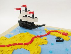 Sailing through MapLand (gid617) Tags: blue light red yellow ship treasure lego map north tan spot x marks needle sail pointing compass