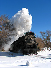 Charging Henderson (GLC 392) Tags: railroad blue sky snow saint st mi train photo code branch power lima michigan great central lakes engine railway charles super steam institute sri locomotive henderson pm berkshire pere marquette freight glc berk railroading 284