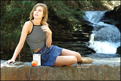IMG_2239_Whitewater at the falls....girl with an apple.. (donaldbrainard1) Tags: park portrait apple nature beautiful face canon photography model eyes pretty legs expression skirt teen waterfalls 7d ithaca lovely samantha uppertremanstparkithacanewyork