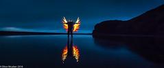Angel of the gloaming (Elton McAleer) Tags: longexposure nightphotography lightpainting angel reflections fire pixelstick
