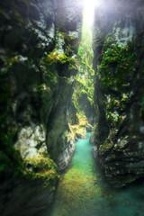 EMERALD PASSAGE (Titanium007) Tags: blue light mountain green nature water beautiful vertical landscape rocks canyon slovenia mysterious dreamy slovenija emerald tolminskakorita tolmingorge tolmingorges