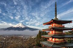 Chureito Pagoda and Mount Fuji at sunrise (David Bertho) Tags: travel mountain tourism japan clouds zeiss sunrise landscape asian temple japanese pagoda colorful asia fuji sony famous beautifullight landmark mount fujisan alpha a7 goldenhour chureito