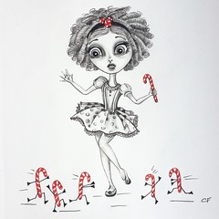 Candy Cane Attack (Enchanted Fields) Tags: christmas winter girl season holidays december candy attack can candycane magical graphite lineart enchanted linedrawing whimsical coloredpencil pencilart inkart