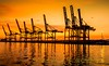 Sunset over Barcelona Port (EXPLORED 02 01 16 #31) (simonvaux1) Tags: barcelona sunset red sea sky orange holiday simon water clouds contrast port reflections outdoors amazing spain nikon europe raw colours warmth full frame strong fx d800 crains vaux 18200mm