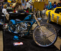 World of Wheels Custom Car Show - 1/9/16 (steviep187) Tags: blue light red people orange brown white black green ford chevrolet car bike yellow vw truck canon dark fun eos rebel gold buick lowlight chopper shiny shine tn jeep bright tennessee cream cadillac camaro indoors chevy motorcycle vehicle dodge mustang dslr corvette carshow xsi chattanoogaconventioncenter worldofwheelscustomcarshow