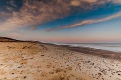Cloudy and Pink (kevbphotography) Tags: uk sea orange beach water reflections coast suffolk sand colours tide east coastal sunet anglia covehithe