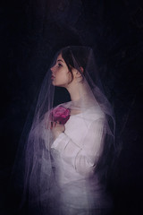 With a Rose (5/52) (Tarla Walton) Tags: portrait girl beautiful rose purple tulle 52weekproject