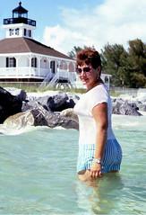 Lighthouse wade, 1987 (clarkfred33) Tags: water 1987 historic shore wade shortshorts bocagrande wetlook wetfun ligthouse wetshorts wetadventure