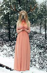 Little haunted moose soul.. (NightyLik) Tags: winter snow girl skull dress moose creepy concept
