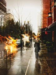 (rowjimmy76) Tags: cameraphone street city winter urban mist rain weather oregon umbrella walking portland person cloudy sidewalk pacificnorthwest pdx pnw iphone6