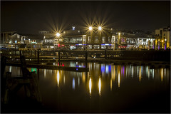 Cardiff Bay (Dave (R.A.T.S.) Real Ale Tasting Society ) Tags: water reflections lights bay nightshot cardiff cardiffbay sigma1770mmlens topazclean topazdenoise canon7dmkii