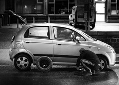 Deflated (haqiqimeraat) Tags: street cars car 50mm dundee streetphotography 50mmf18 punctured d7100