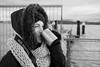 Kaaaaalt.... (Tabbo107) Tags: sea portrait bw white black cold beach strand digital canon eos see meer tea kaffee olympus porträt mug sw coffe kalt tee schwarz kiel becher omd steg kälte weis förde em10 kieler falckenstein kielfisch