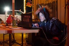 DSC_0253 (Axisworks) Tags: party hoodie rainbow gate dj laptop burningman staff unicorn gpe gateperimeterandexodus