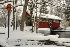 Snow-covered Footbridge (Tom Mortenson) Tags: winter usa water wisconsin rural river landscape geotagged countryside midwest scenery footbridge coveredbridge northamerica flowing canoneos hdr snowcovered freshsnow 1740l crystalriver waupaca openwater redmill photomatix tonemapping waupacacounty waupacawisconsin centralwisconsin canon6d