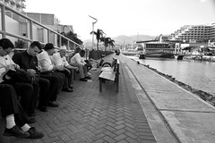 Break time (gyuri200) Tags: bw hotel backyard break gulf snapshot services waiter