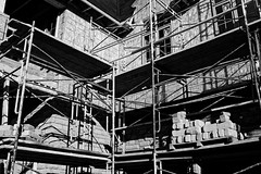 Construction (Yuli Mitsner) Tags: summer blackandwhite bw house ontario canada building home nature monochrome maple construction afternoon fuji walk area