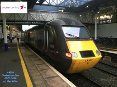 CROSSCOUNTRY HST 43303 REAR OF 0852 PLYMOUTH AT CHELTENHAM SPA 06022016 (MATT WILLIS VIDEO PRODUCTIONS) Tags: rear plymouth crosscountry spa cheltenham hst at of 43303 0852 06022016