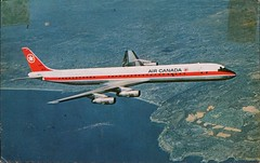 Douglas DC-8, Air Canada (SwellMap) Tags: architecture plane vintage advertising design pc airport 60s fifties aviation postcard jet suburbia style kitsch retro nostalgia chrome americana 50s roadside googie populuxe sixties babyboomer consumer coldwar midcentury spaceage jetset jetage atomicage