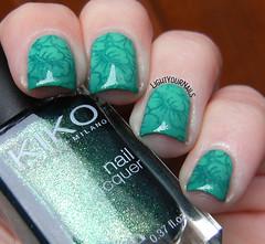 Tropical nails (Simona - www.lightyournails.com) Tags: green teal nagellack nails kiko stamping manicure essence nailpolish nailart vernis bps esmalte unghie smalto depend naillacquer nailstamping kikocosmetics bornprettystore