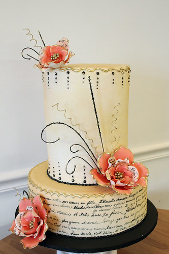 Painted French Poem Wedding cake with Sugar Flower Sprays