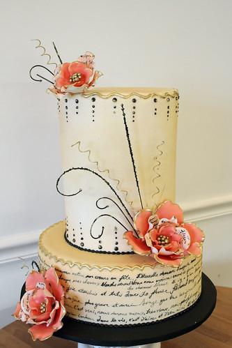 Painted French Poem Wedding cake with Sugar Flower Sprays
