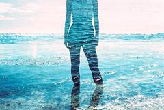 Goddess (Hayden_Williams) Tags: ocean shadow summer sky woman film water girl silhouette female analog person xpro crossprocessed waves puertorico doubleexposure ripple multipleexposure fd50mmf18 figure analogue canonae1 tides cerulean agfaprecisact100 beacu